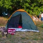 Valter ser efter tältet