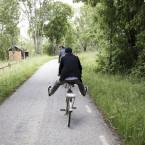 Nedförsbacke på cykel